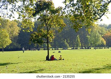 sitting under a tree