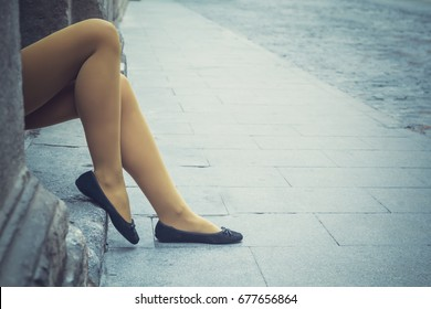 Sitting woman, legs detail, with yellow panties and black ballerina shoes - Funny tights - Colorful female legs - Fashion, cute, retro stylish look