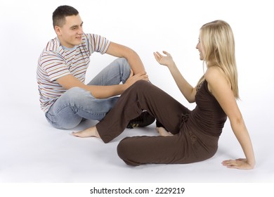 sitting young woman and man having a conversation