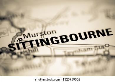 Sittingbourne. United Kingdom on a geography map