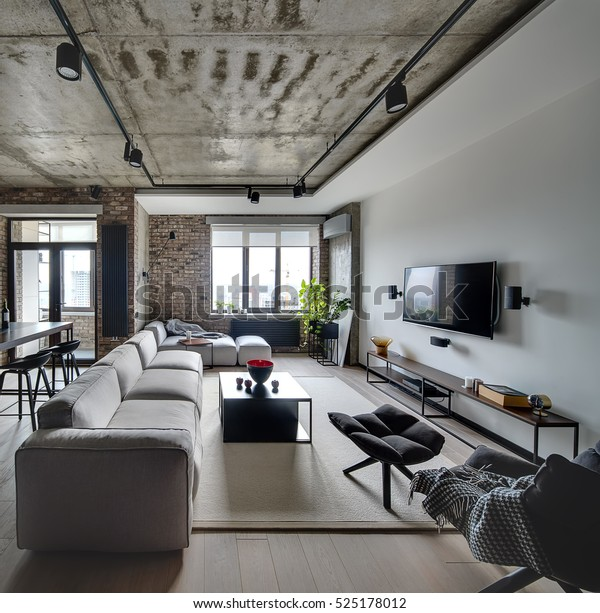 Sittingroom Loft Style White Brick Walls Stock Photo (Edit ...