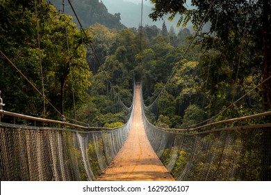 Situ Gunung Suspension Bridge Sukabumi West Java Indonesia