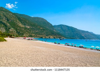 Situated on Turkey of south-west coast, with its pristine white beaches and amazingly blue waters, is one of the finest beaches in the world in Oludeniz, Fethiye. August 2017, Mugla-Turkey