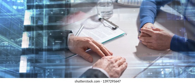 Situation of business negotiation between businesswoman and businessman; multiple exposure