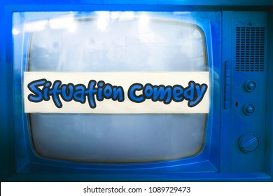 situation comedy blue tv series genre television label old tv text sitcom vintage retro movies background .