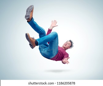 Situation, the man is falling. Concept of an accident