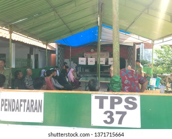 Situation of TPS 37 for Indonesian election 2019 at Purworejo Village 17 April 2019