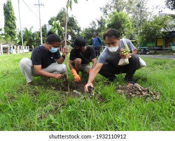 Situbondo, Indonesia - march 03 2021: environmental groups and the village government are planting trees together on the side of the village road