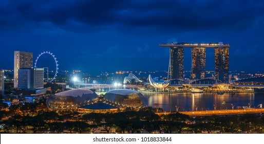 Sityscape of Singapore city on night time, the main road and Business center, Singapore