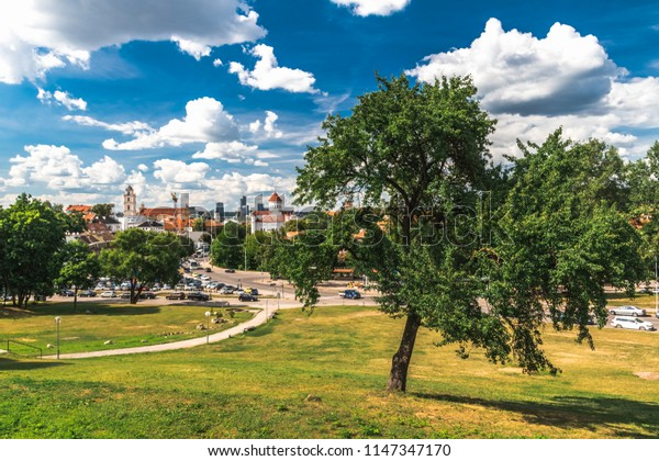 Sityscape of Vilnus, summer wiev on city with green trees