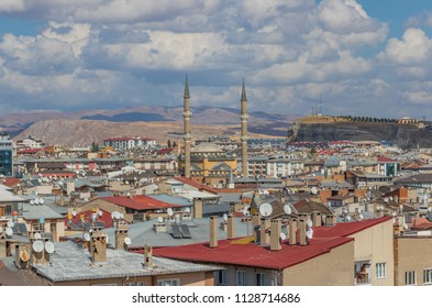 Sivas, Turkey - 5th October 2017 - one of the main cities of Central Anatolia, Sivas is a popolar route between Western and Eastern Turkey. Here in particular the city seen from the castle