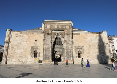 SIVAS, TURKEY - AGUST 04, 2018:The historic Buruciye Madrasah in the town square of Sivas. it is a touristic place and a cafe