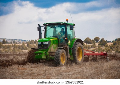 Sivas, TURKEY - April 10 2019:Ploughing in the fields.Agriculture in Turkey.