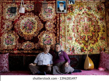 Sivas, Turkey : July 08, 2013 : A musician Alevi dervish and his family in Kangal village, Sivas.