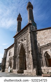 SIVAS, TURKEY - NOVEMBER 13, 2016:Cifte Minareli Medrese in Sivas City,Turkey. The structure has the biggest portal among the other theological schools in Anatolia.