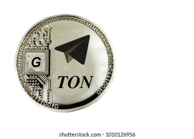 Siver coin TON on a white background. Cryptocurrency TON from telegram.