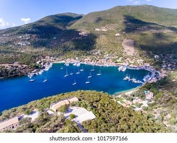 Sivota bay on Lefkada Island Greece aerial view