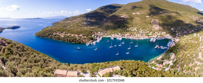 Sivota bay panorama in Lefkada Island aerial view
