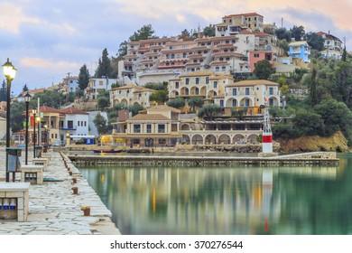 Sivota by winter night, Greece, tourist resort