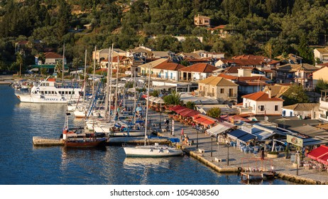 Sivota, Greece, 09 September, 2017 Panorama of the center of the town of Sivota in Greece. 16:9 ratio