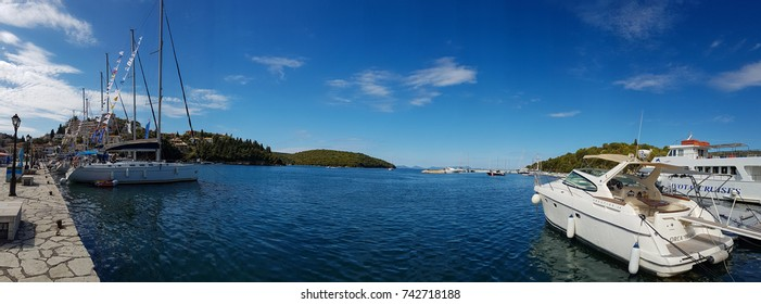 Sivota, Greece - 11 October, 2017: Panoramic view of SIvota tourist resort harbor in Greece