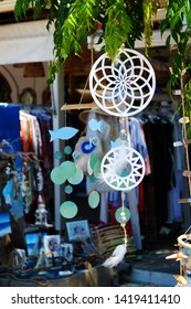 SIVOTA, GREECE - AUGUST 12, 2018: Shop with dream catchers and a lot of stuffs in greek town Sivota.