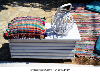 SIVOTA, GREECE - AUGUST 12, 2018: A lot of stuffs for relax in greek town Sivota.