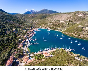 Sivota panorama in Lefkada Greece with yachts in the harbour