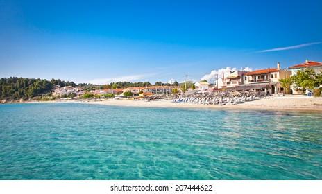 Sivri sand beach on Kassandra peninsula, Halkidiki,  Greece.