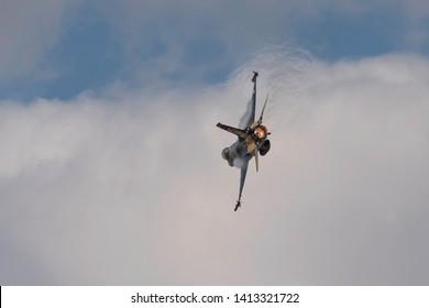 Sivrihisar, Eskisehir / Turkey - 09.15.2018: Soloturk, one of two demo teams of Turkish Air Force, preforming an astonishing display.