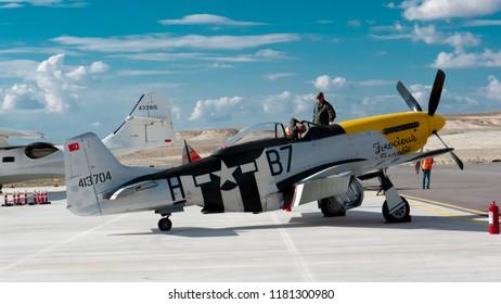 SIVRIHISAR, ESKISEHIR, TURKEY - SEPTEMBER 15, 2018: North American P-51 Mustang Ferocious Frankie with Captain Pilot Sivrihisar Airshows SHG - Sivrihisar Hava