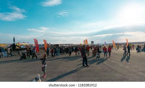 SIVRIHISAR, ESKISEHIR, TURKEY - SEPTEMBER 15, 2018: People in the Airshow Exhibition area Sivrihisar Airshows SHG - Sivrihisar Hava