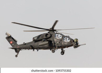 Sivrihisar, ESKISEHIR, TURKEY - September 16, 2017 ; Attack helicopter TAI-AgustaWestland T129 ATAK. Turkish Air Force. Sivrihisar Air Show Eskisehir, Turkey.