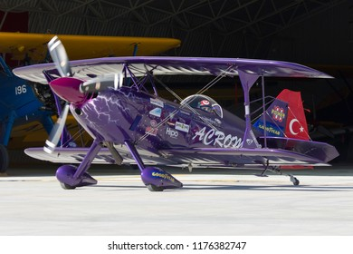 Sivrihisar, Eskisehir, Turkey - September 17, 2017: Sivrihisar Airshows (SHG - Sivrihisar Hava Gosterileri) is one of the few airshows of Turkey, attracting a bigger auidence every year.
