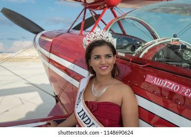 Sivrihisar, Turkey - September 9, 2016: Mrs. India 2016, Ruth Charlesworth, posing right next to a beautiful plane.