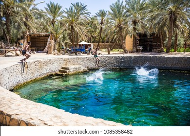 SIWA, EGYPT - April 2018: Cleopatra's Pool at Siwa. Siwa oasis, Egypt. Turquoise water at Cleopatra's Pool