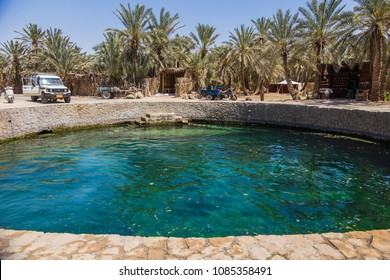 SIWA, EGYPT - April 2018: Cleopatra's Pool at Siwa. Siwa oasis, Egypt. Turquoise water at Cleopatra's Pool