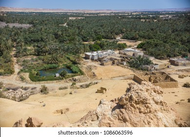 SIWA, EGYPT - April 2018: The Mountain of the Dead, ancient Egyptian cemetery in Siwa oasis, Egypt