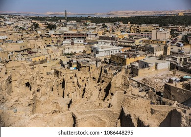 SIWA, EGYPT - April 2018: Shali fortress ruins, Siwa oasis old town, Egypt. Aerial view of Siwa town, Egypt