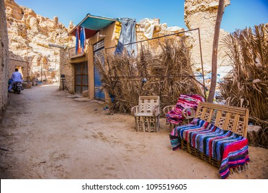 SIWA, EGYPT - April 2018: Traditional Egyptian restaurant, coffee shop. Oriental style cafe with furniture and eastern decor, Siwa oasis, Egypt