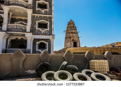 SIWA, EGYPT - April 2018: Traditional Egyptian dovecote made of clay. Pigeon house in Siwa oasis, Egypt