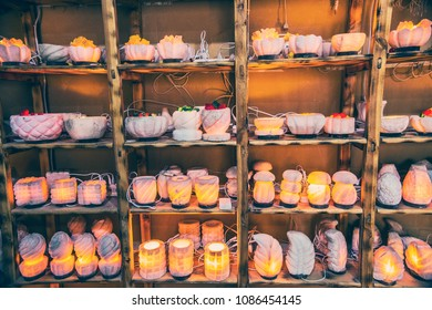 SIWA, EGYPT - April 2018: Various salt lamps on the market at Siwa, Egypt. Home lamps made of salt.