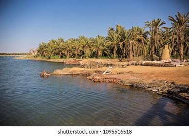 Siwa lake at Siwa oasis in Egypt