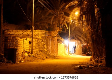 Siwa Oasis, Egypt - September 25th 2009: Typical Street Scene in Siwa during Night