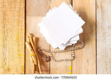 siwak muslim brush and rosary and white paper