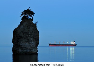Siwash Rock and Ship, Stanley Park, Vancouver