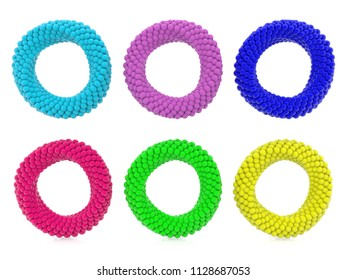Six abstract rings in various colors on white.3d illustration