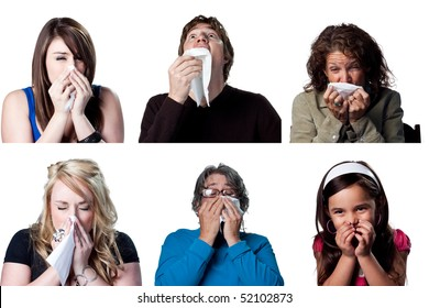 Six actors sneezing due to a cold