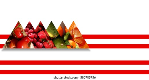 Six aligned triangles with shadow below and filled with different fruits: cherries, raspberries, strawberries, limes, tangerines with leafs and orange pieces, all bound by two red parallel ribbons