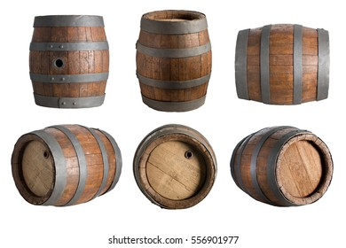 six angle wood barrel, cask, isolated on white background with clipping path